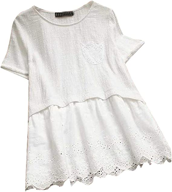 Cómoda Camisa de Lino para Mujer, Falda de Encaje Plisada ...