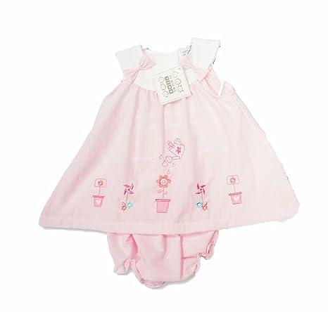 Bebé Niñas Verano Vestido Rosa Bordado macetas y regadera ...