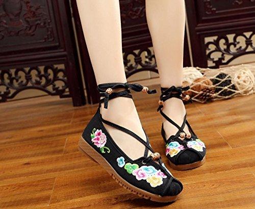 Tendine Moda Etnico Unico Scarpe Desy Stile Comodi Ricamate Black Da Femaleshoes Ballo xwTqqtU