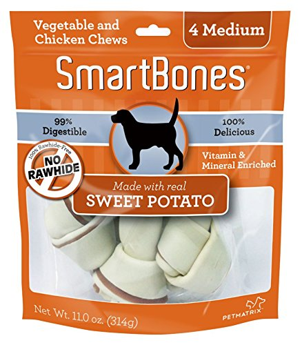 SmartBones Sweet Potato Dog Chew, Medium, 4 pieces/pack (Butter Snaps Peanut Treat)