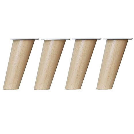 Furniture Feet Muebles Patas de Madera Maciza de reemplazo Patas de sofá, 4 Juegos de Patas inclinadas para armarios mesas de café mesas y sillas