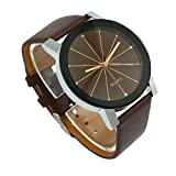 Goddessvan Mens Quartz Dial Clock Leather Wrist Watch Round Case