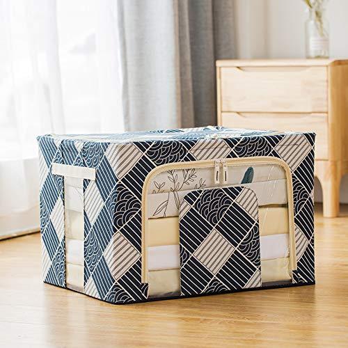 (lingchangyoushangmao Toy Storage Box, Clothes Storage Box, Home Cotton and Linen Storage Box, Steel Frame, bina Box Blue and White Totem 66L: 504033CM Blue and White Totem 66L: 504033CM)