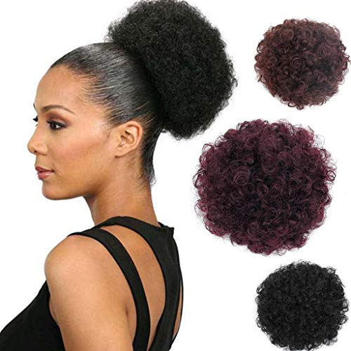 Women Black Brizilian Afro Puffy Fluffy Hair Extensions Clip In Half Curly Elegance Fashion Hairpiece