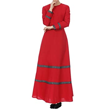 Muslim Evening Dresses for Women Plus Size,Women Dress of Long Sleeves Pure Color Chiffon
