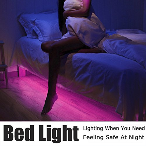 LEHOU Under Bed Light Motion Activated Illumination RGB Color Include Warm Color Automatic Staircase Lighting LED Strip Sensor Night Light Bathroom,Wardrobe,Kitchen - 1.5m/4.9ft x 2 by LEHOU (Image #3)'