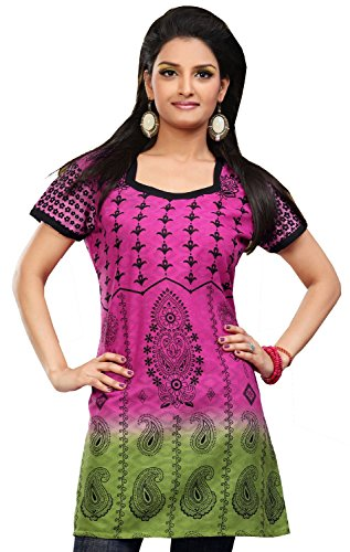 Long Kurti Top Tunic Cotton Womens Printed Blouse India Clothing (Pink, XL)