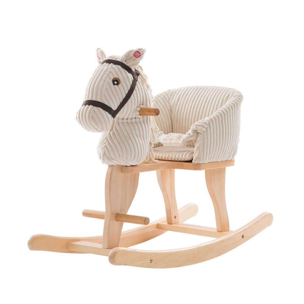 AAY 【New】Plush Rocking Horse Lamb, Rocker for Child 1-3 Years Old, Wooden Stuffed Rocking Animal for Boy&Girl, White Kid Ride On Toy, Toddler Riding Toy for Outdoor&Indoor, Birthday Gift by AAY