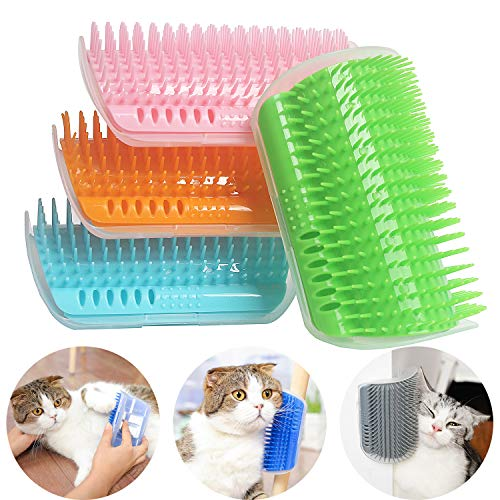 IMISNO 4 Pack Cat Self Groomer with Catnip Pouch,Cats Corner Massage Comb Grooming Brush Tool for Kitten Puppy (Blue/Green/Pink/Orange)