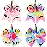 Jetec Unicorn Shape Cheer Hair Bows Elastic Hairband and Large Unicorn Alligator Clips for Teen Girls Cheerleader Sports, 4 Pieces Totally
