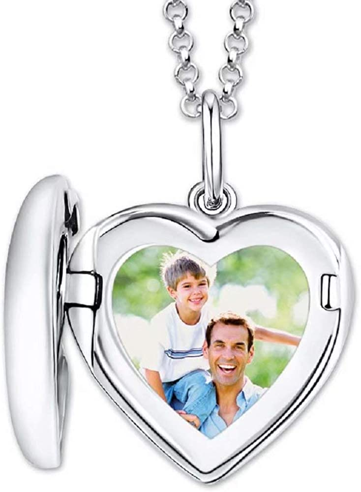 Beiduofen Custom Engraved Necklace Heart Photo Necklac Heart Locket Picture Necklace 925 Sterling Silver Pendant Color Photo Necklace