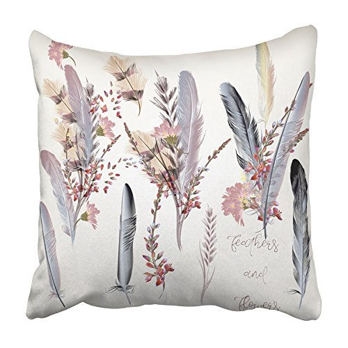 - Emvency Throw Pillow Cover Animal Collection of Feathers in Pink Color for Save the Date Bird Bohemian Kit Print Home Decor Design Square Set Cushion Case 20 x 20 Inch of Bedroom Sofa Pillowcase