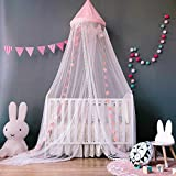 Dix-Rainbow Bed Canopy with Pom Pom Hanging Mosquito Net for Baby Crib Kids Twin Full Queen Size Bed, Lace Round Dome Fairy Netting Curtains, Kids Play Tent Reading Nook Castle Games House - Pink