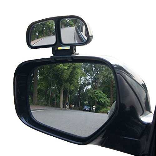 YASOKO Plastic Housing Auto Auxiliary Blind Spot Mirror Car Side-Angle Side-View Double Mirror 1 Piece (Left, Black)