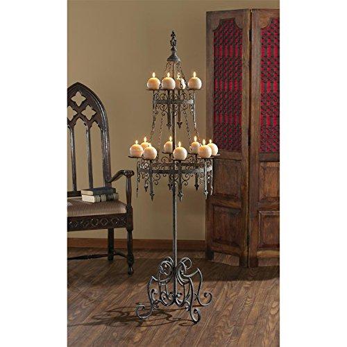 Floor Candleabra - Design Toscano Malbark Castle Gothic Decor Floor Candelabra Candle Holder, 63 Inch, Metalware, Grey Patina
