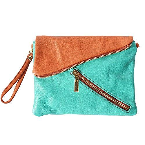 En Pour Sacs marron Clair Turquoise Florence sac Enveloppe 417 Cuir Clutch Bandoulière Market À Leather Véritable Femme qxUXxg8Aw
