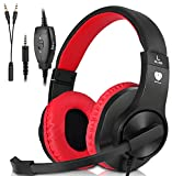 Xbox One Headset, PS4 Headphones,Wired Noise Isolation, Over-Ear Headphones with Mic ,Stereo Gamer Headphones 3.5mm(Red)