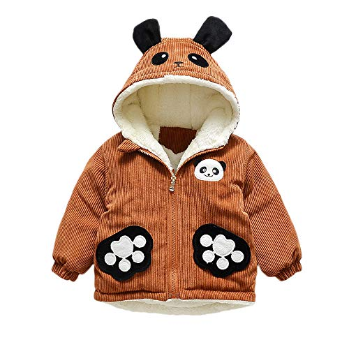 - Lollyeca Toddler Baby Boy Girl Cartoon Long Sleeve Corduroy Panda Ear Hoodie Winter Warm Clothes Coat (Brown, 12-18 Months)