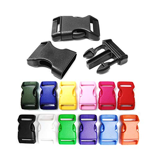 25pcs Pack Assorted Color Side Release Buckle Curved 550 Paracord Bracelet Outdoor Backpack Dog Collar Webbing Strap Bag Parts Accessories (Webbing Size: 3/4
