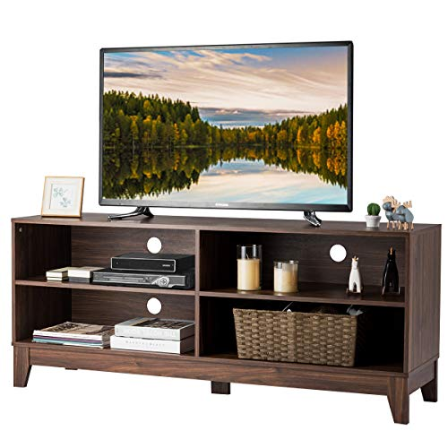 Tangkula Wooden TV Stand, Rustic Style Universal Stand for TV's up to 60″ Flat Screen, Home Living Room Storage Console Entertainment Center, 58 Inch TV Stand (Walnut)