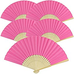 "Just Artifacts Folding Paper Hand Fan 8.25"" Fuchsia (5 pcs)"