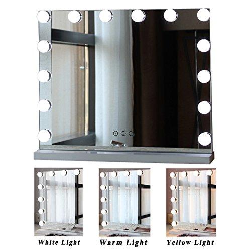 Espejo De Maquillaje LED De Escritorio, Espejo De Sobremesa Cuadrada Grande De Una Cara, Espejo De Espejo Profesional De HD...