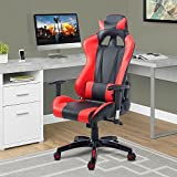 Cloud Mountain Gaming Chair PU Leather Racing Style Office Chair High-back Swivel Computer Desk Gaming Chair Lumbar Support With Ergonomic Design Soft Headrest Task Video Gaming Chair, Black Red Cloud Mountain
