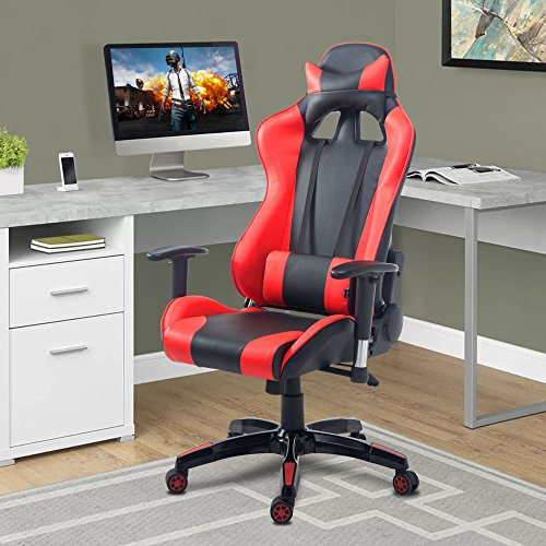 51QcVVrzNBL - Cloud Mountain Gaming Chair PU Leather Racing Style Office Chair High-back Swivel Desk Executive Gaming Chair Lumbar Support With Ergonomic Design Soft Headrest Task Video Gaming Chair
