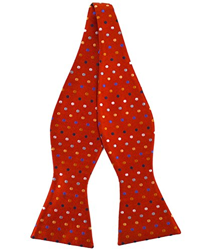 Red Freestyle Bow Tie - Men's Colored Dots Silk Woven Freestyle Bow Tie (Red)
