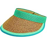 San Diego Hat Company Women's Contrast Color Stripe and Adjustable Back Visor, Teal, One Size