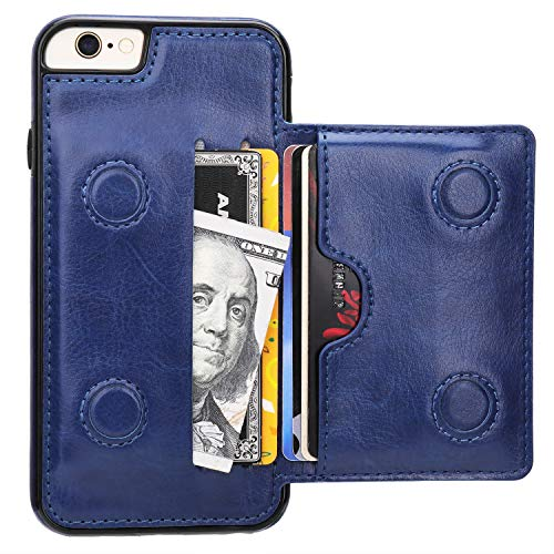 iPhone 6 iPhone 6S Wallet Case with Credit Card Holder, KIHUWEY Premium Leather Kickstand Durable Shockproof Protective Cover for iPhone 6/6S 4.7 ()