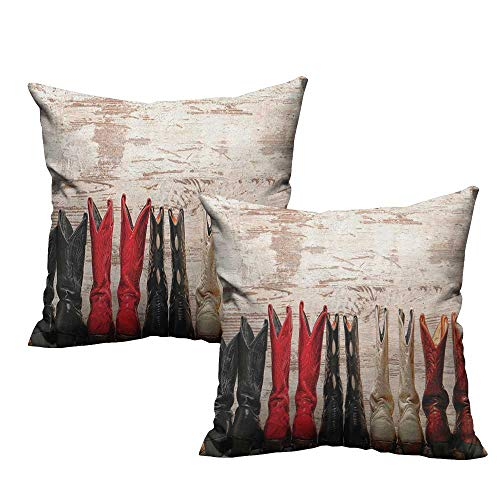 RuppertTextile Fashion Pillowcase Western American Legend Cowgirl Leather Boots Rustic Wild West Theme Cultural Print Soft and Durable W14 xL14 2 pcs