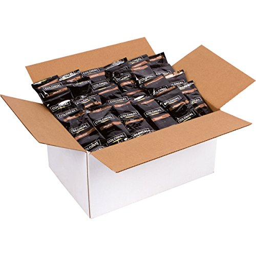 Colonial Coffee Portion Packs, European Style, Dark Roast Ground, 2.5 oz./Bag, 100 Count box, Bulk Fractional Pouches for Single Pot Drip Brewing Colonial Coffee Pot