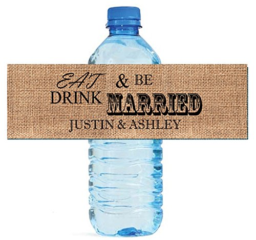 100 Burlap Eat Drink & Be Married Wedding Water Bottle Labels 8