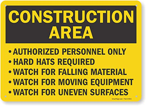 "SmartSign ""Construction Area - Authorized Personnel Only, Hard Hats Required"" Sign 