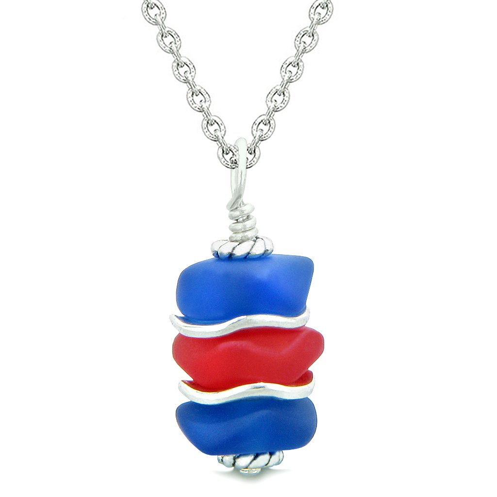 Sea Glass Icy Frosted Waves Ocean Blue Royal Red Positive Powers Amulet Pendant 22 Inch Necklace
