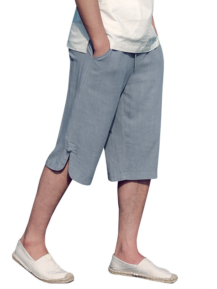 EastLife Mens Linen Cotton Shorts Summer Casual Beach Short Pants with Pocket