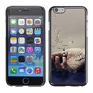 PC/Aluminum Funda Carcasa protectora para Apple Iphone 6 Plus 5.5 Hand Symbol Ocean Sea Ship Sailing Waves / JUSTGO PHONE PROTECTOR