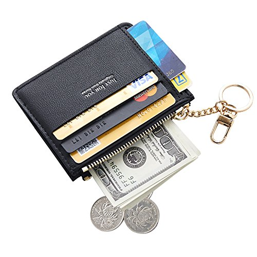 redit Card Case Holder Front Pocket Wallet Change Purse for Women Girls with keychain Black (Chain Front Leather)