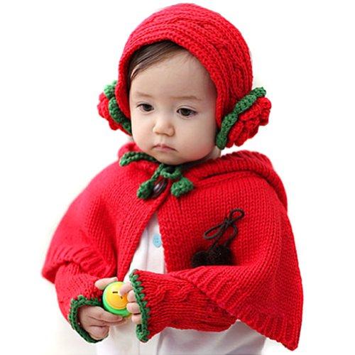 LOCOMO Baby Knit Crochet Rib Riding Hood Cape Hat Ear Hand Arm Warmer FBA038RED