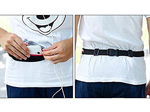 Ecloud Shop® Laufband Erweiterbar Doppel Taschen wasserdicht Multifunktions-Taschen (Rose)
