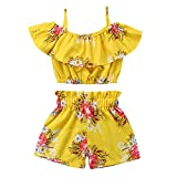 Chinatera Little Girls 2 Pieces Summer Clothes Outfits Halter Tops + Shorts Floral Prints Cotton (6-7T)