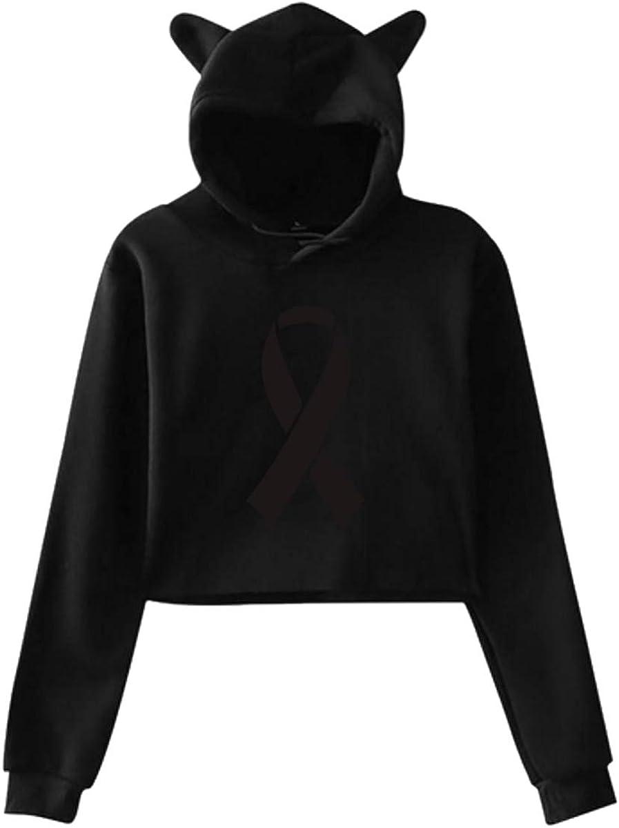 Womens Girls Cat Ear Pullover Hoodie Melanoma Awareness Ribbon Cropped Sweatshirts