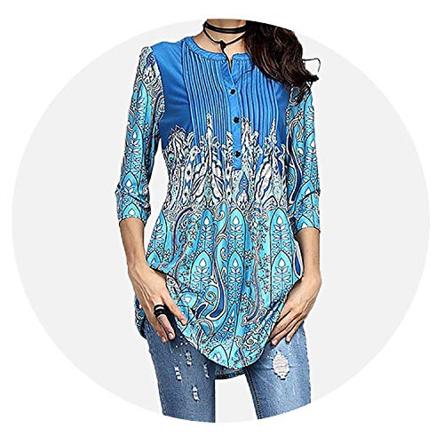 sensitives Spring Tunic Printed Women's Shirt Blouse 3/4 Sleeves Pleated Tops Womens 2019 Summer Fashion -