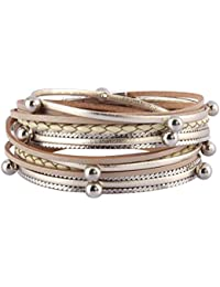 Women Leather Wrap Bracelet Multilayer Boho Bracelets...