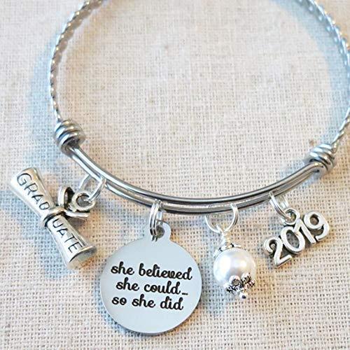 GRADUATION Gift 2019 Bangle Bracelet, She Believed She Could So She Did Inspirational Gift, High School College Graduate Bracelet, Gift For Grad 2019 ()