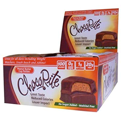 ChocoRite - High Protein Diet Bar   Peanut Butter Cup Patties   Low Calorie, Low Fat, Sugar Free, (16/Box)
