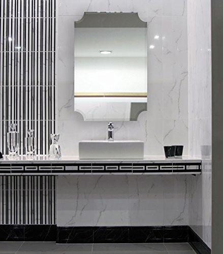 Large Beveled Scalloped Edge Rectangular Wall Mirror 1