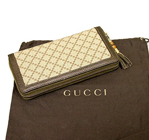 Gucci Bamboo Bronze Diamante Canvas Clutch Zip Around Wallet 224253 by Gucci