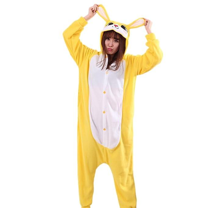 Fandecie Pijama Amarillo Conejo, Onesie Modelo Animales para adulto entre 1,60 y 1